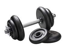 Dumbbell and barbell discs Royalty Free Stock Photos