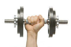 Dumbbell being gripped by hand Royalty Free Stock Images