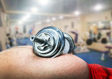 Dumbbell on the belly Royalty Free Stock Photos