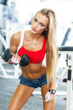 Dumbbell bicep curl by a fitness girl Stock Photos