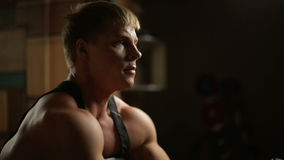Dumbbell Biceps Exercises stock video footage