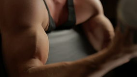 Dumbbell Biceps Exercises. Closeup stock footage