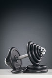 Dumbbell with Black Discs Royalty Free Stock Photography