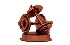 Dumbbell Bronze Trophy Stock Image