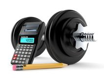 Dumbbell with calculator and pencil. On white background. 3d illustration Stock Photos