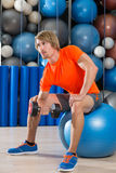 Dumbbell concentrated biceps curl  man fitball Stock Photography