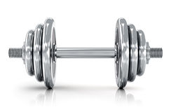 Dumbbell. Creative sport, fitness and healthy lifestyle concept: shiny metal dumbbell isolated on white background with reflection effect Royalty Free Stock Images