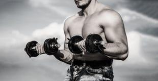 dumbbell Culturista fuerte, músculos perfectos de los músculos de deltoides, de los hombros, del bíceps, del tríceps y del pecho  imagenes de archivo