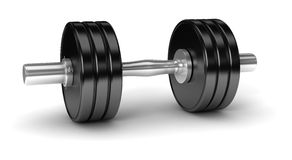 Dumbbell. 3D dumbbell on white background Royalty Free Stock Photos