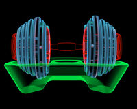 Dumbbell (3D xray red, green and blue transparent) Stock Photo