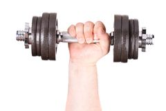 Dumbbell in der Hand. stockbild
