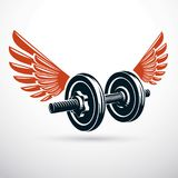 Dumbbell with disc weight vector illustration created using wing Stock Photo