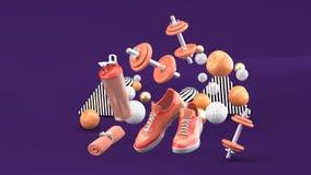 Dumbbell, Działający buty, Pomarańczowy ręcznik Wśród kolorowych piłek na purpurowym tle ilustracji