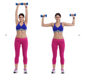 Dumbbell exercise for arms Royalty Free Stock Photos