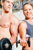 Dumbbell exercise in gym stock photography