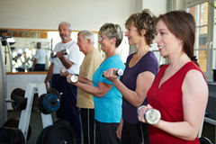 Dumbbell exercises with seniors Stock Photo