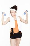 Dumbbell fitness girl Stock Photography
