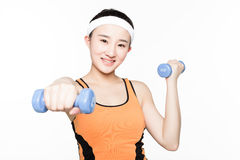 Dumbbell fitness girl Royalty Free Stock Image