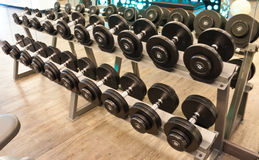 Dumbbell in fitness room Royalty Free Stock Photo