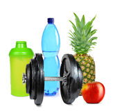 Dumbbell with fruits and protein shaker Stock Images