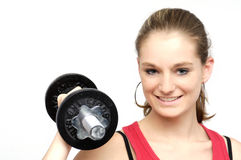 Dumbbell girl Royalty Free Stock Image
