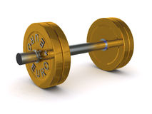 Dumbbell of golden discs with the inscription EURO Royalty Free Stock Photo
