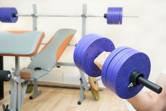 Dumbbell and gym. Big dumbbell and sport gym at home Stock Image