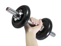 Dumbbell in hand Royalty Free Stock Photos