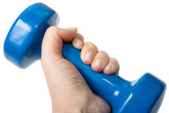 Dumbbell in the hand Royalty Free Stock Image