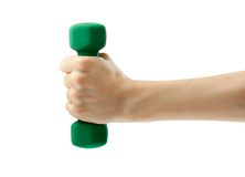 Dumbbell in hand Stock Image