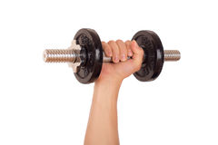 Dumbbell and hand Royalty Free Stock Photo