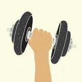 Dumbbell and hand Royalty Free Stock Photos