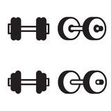 Dumbbell icon in four variations. Vector illustration. Royalty Free Stock Images