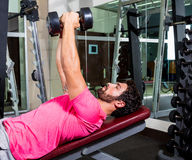 Dumbbell inclined bench Press flyes man workout Stock Image