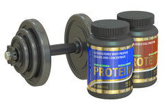 Dumbbell and jars of protein Stock Photos