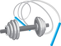 Dumbbell and jumping rope royalty free stock photos