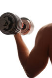 Dumbbell in left hand Stock Images