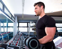 Dumbbell man at gym workout biceps fitness Stock Photos