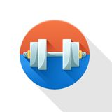 Dumbbell, modern flat icon with long shadow. Stock Photos