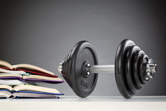 Dumbbell Next to Open Books Royalty Free Stock Images