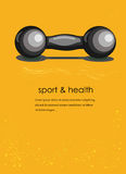 Dumbbell on the orange background. And text Royalty Free Stock Image