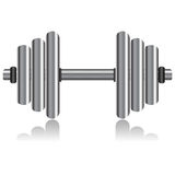 Dumbbell over white Stock Images
