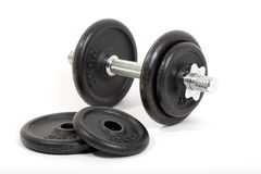 Dumbbell. This phot shows a classic dumb-bell with some additional weights Stock Image