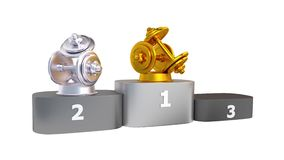 Dumbbell Podium with Gold Silver and Bronze Trophy Appearing stock video