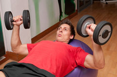 Dumbbell press Stock Photography