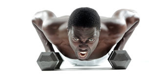 Dumbbell push ups Stock Photos