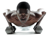 Dumbbell push ups Royalty Free Stock Photos