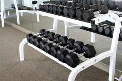 A Dumbbell Rack. Dumbbell Rack is in this workout facility or gym royalty free stock images