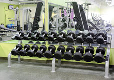 Dumbbell Rack in Fitness Center Royalty Free Stock Photography