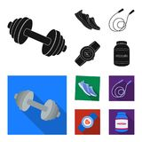 Dumbbell, rope and other equipment for training.Gym and workout set collection icons in black, flat style vector symbol. Stock illustration Stock Photos
